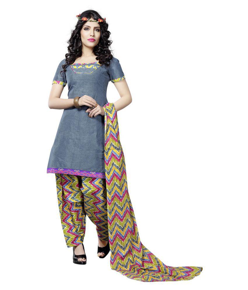 Minu Grey Cotton A-line Stitched Suit