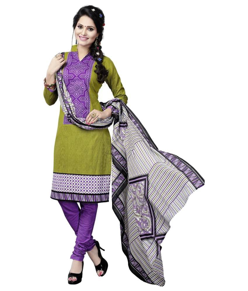 Minu Multicoloured Cotton A-line Stitched Suit
