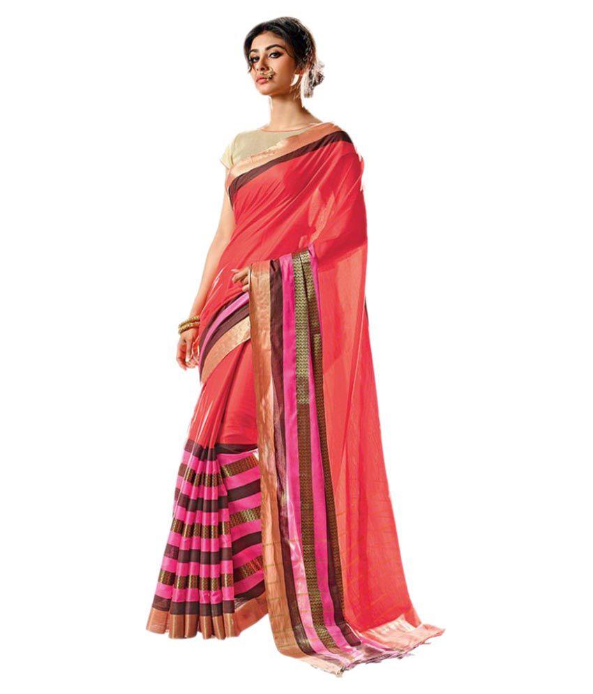 Swaron Pink Cotton Saree