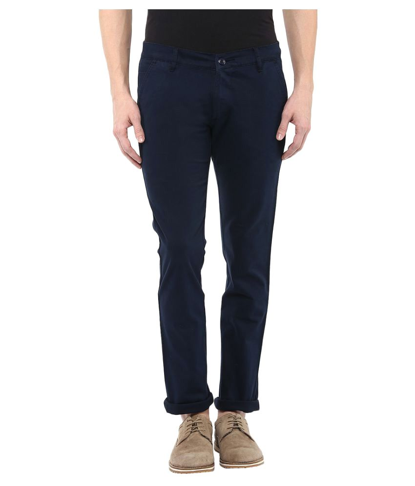 BUKKL Navy Blue Slim Flat Trouser
