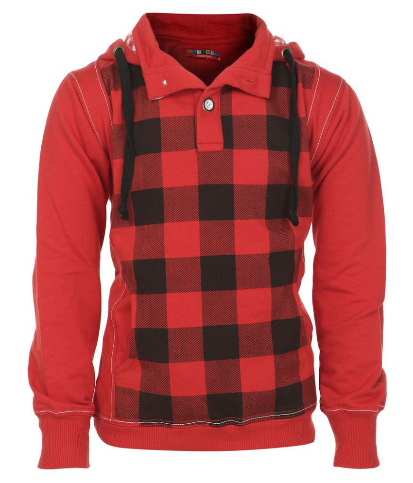 Haig-Dot Red Hooded Sweatshirts for Girls