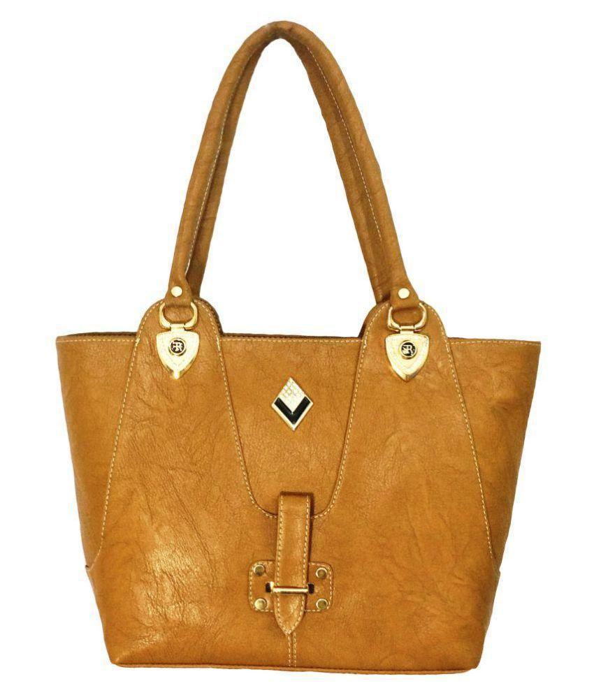 Splice Camel P.U. Shoulder Bag