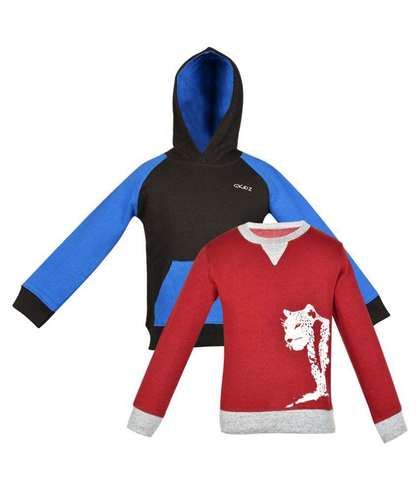 Gkidz Girls Multi Color Fleece Sweat Shirt Pack Of 2