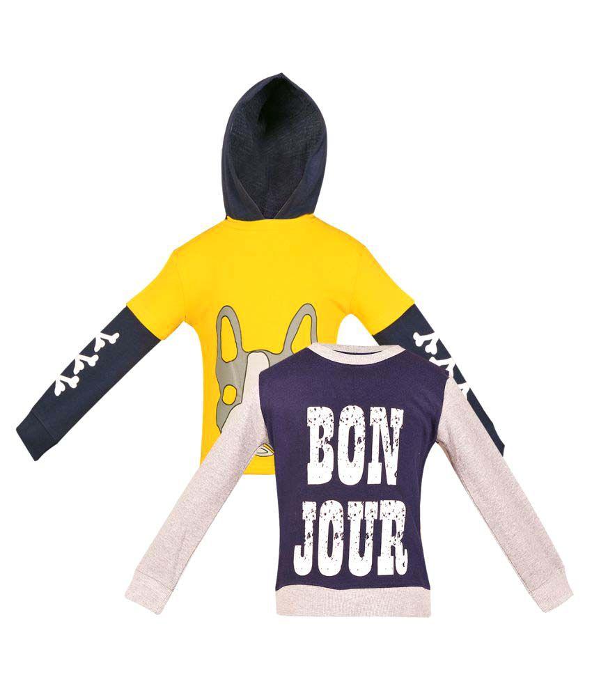 Gkidz Girls Multicolor Fleece Sweatshirt Pack Of 2.