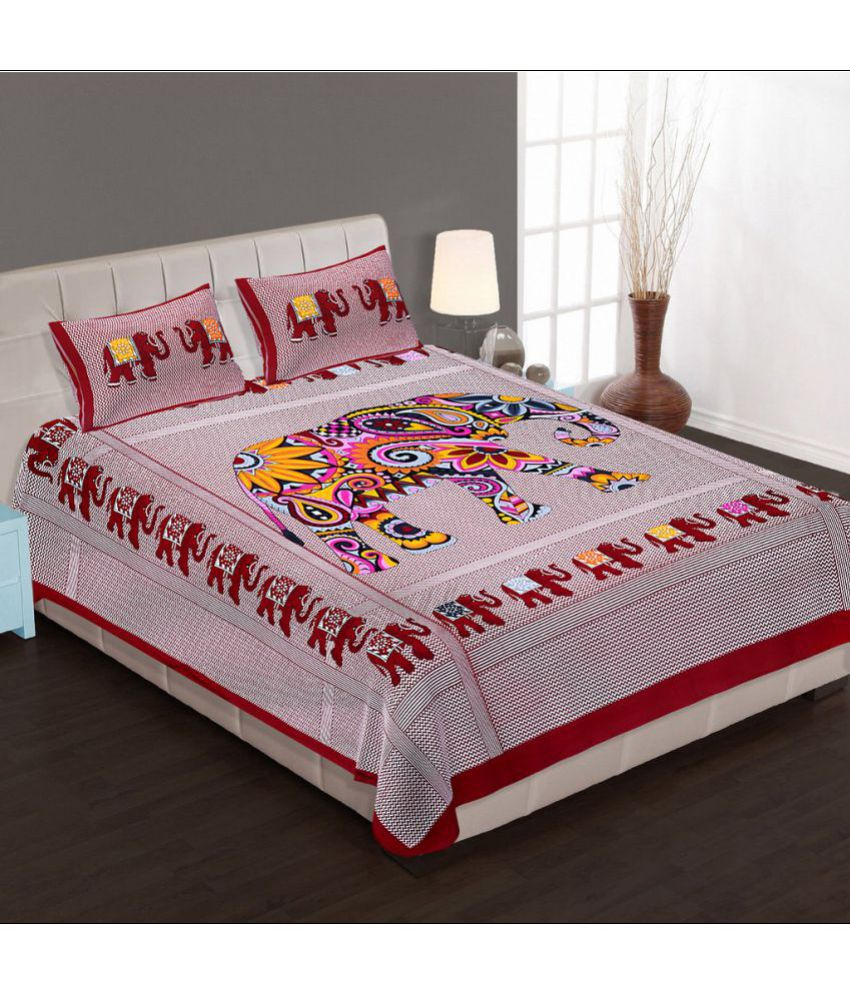 Rangelo Rajasthan Double Cotton Printed Bed Sheet