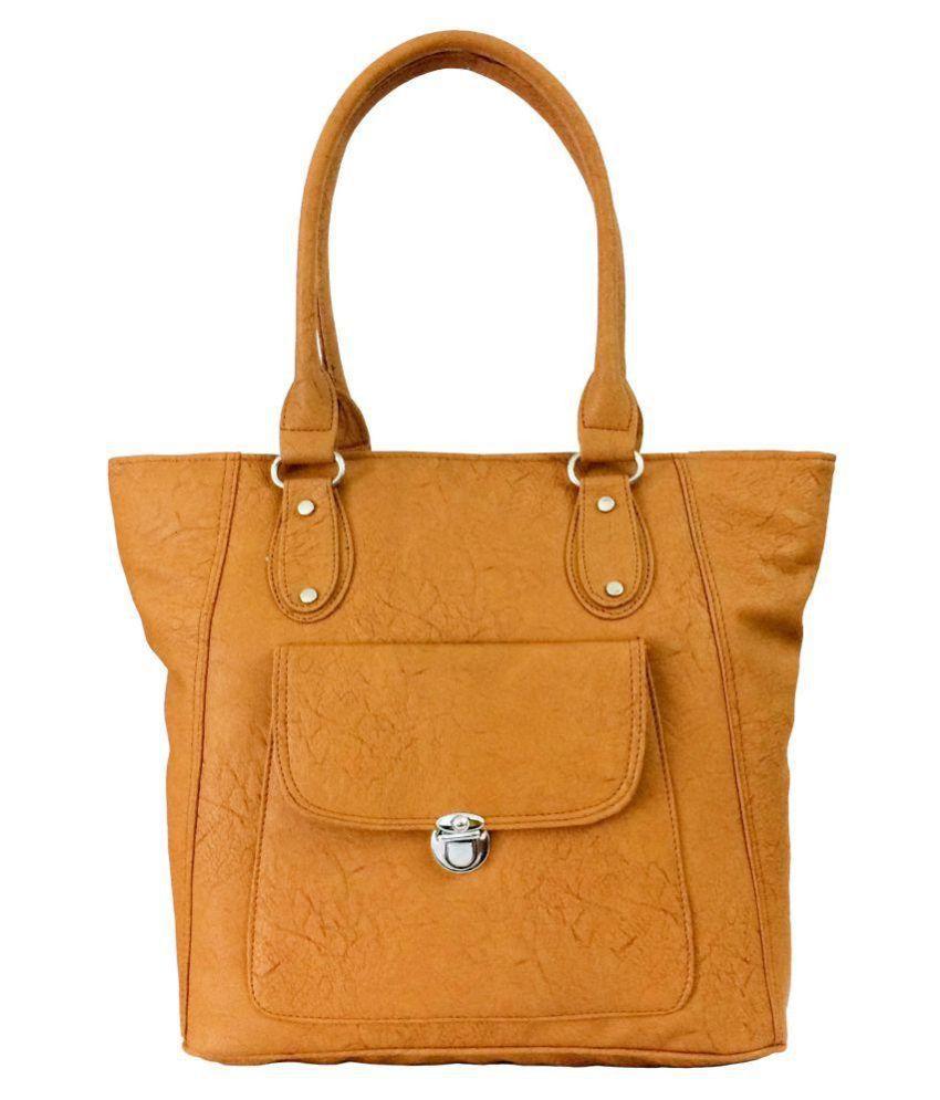 Splice Camel Faux Leather Shoulder Bag