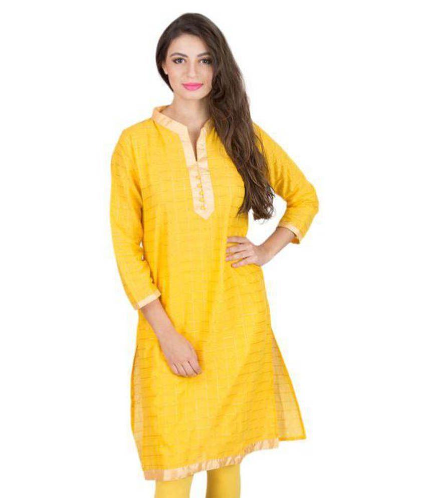 Elearray Wear Yellow Chanderi Straight Kurti