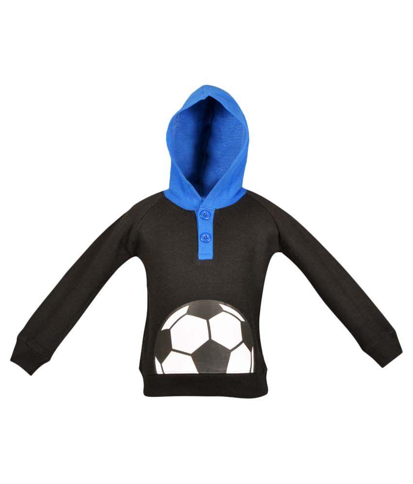 Gkidz Black Full Sleeve Hooded Sweatshirt
