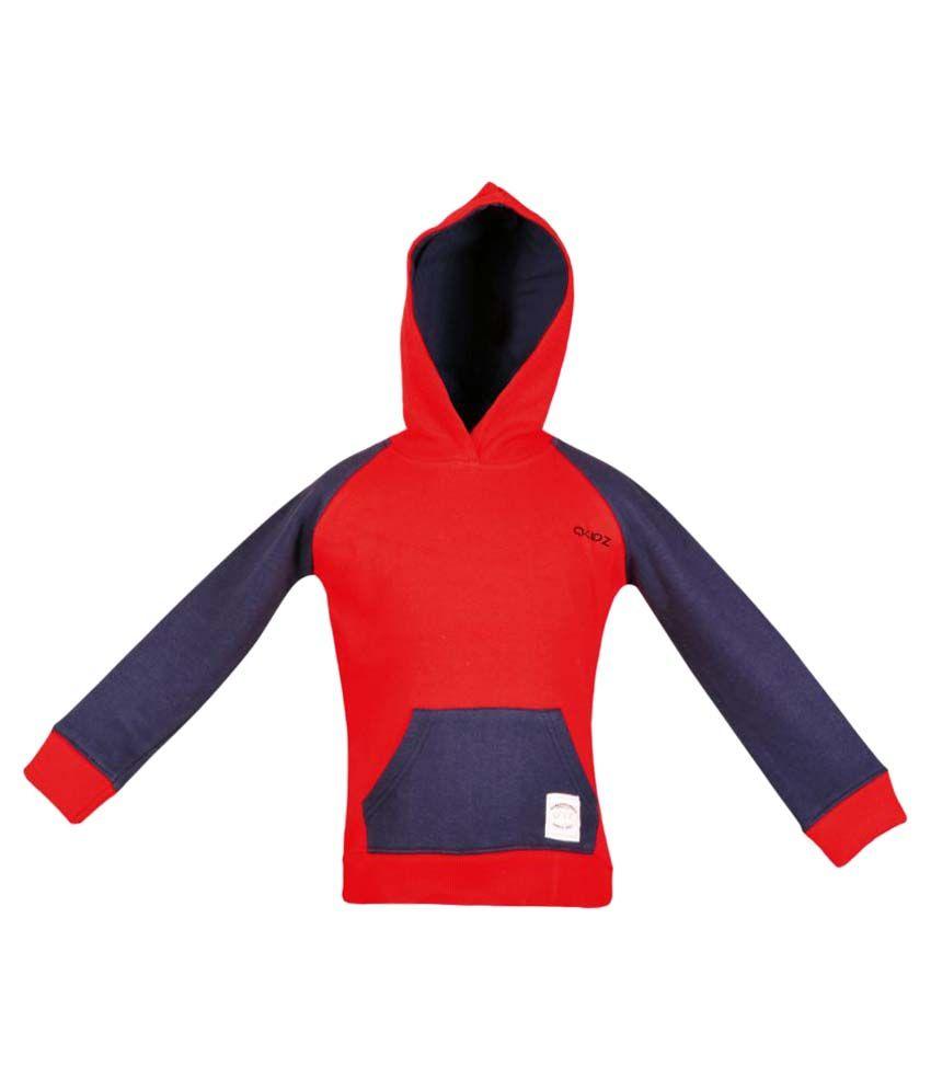 Gkidz Red Full Sleeve Hooded Sweatshirt
