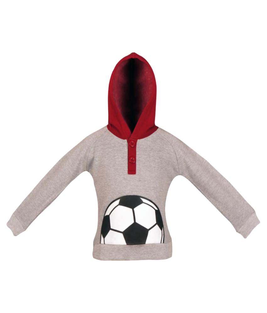 Gkidz Gray Full Sleeve Hooded Sweatshirt