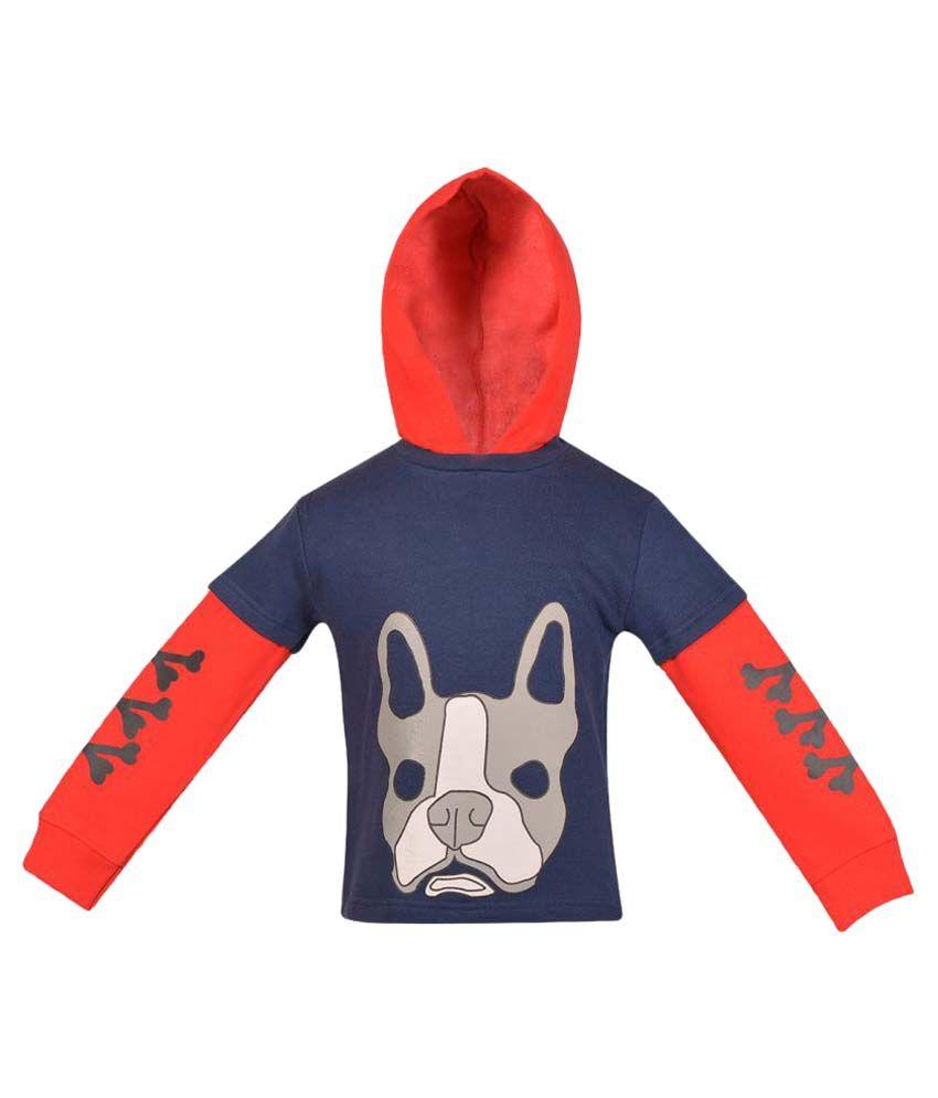 Gkidz Navy Full Sleeve Hooded Sweatshirt
