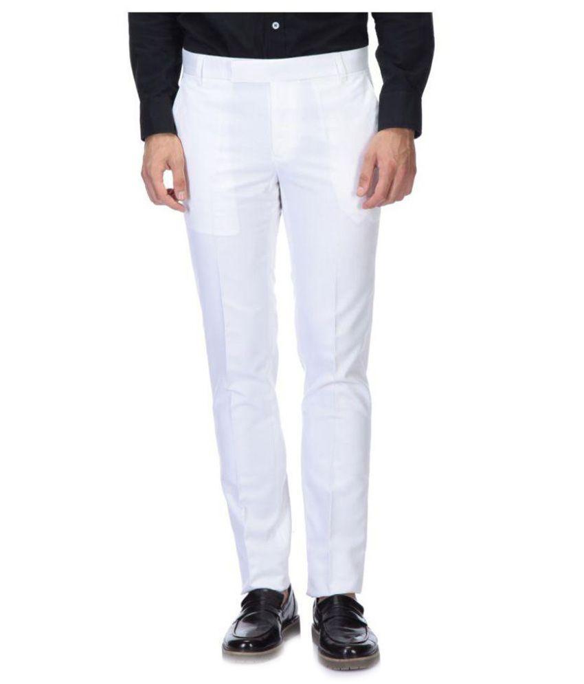 Roy Off White Slim Flat Trouser