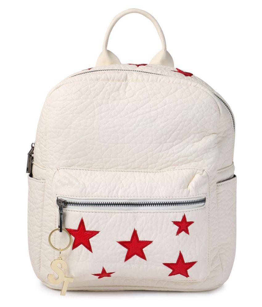 Stylathon White P.U. Backpack