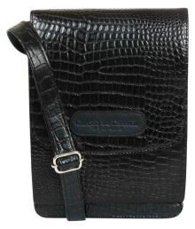 Classy Travel Stores The Croco Black Cross Body Sling Bag Black Leather Casual Messenger Bag