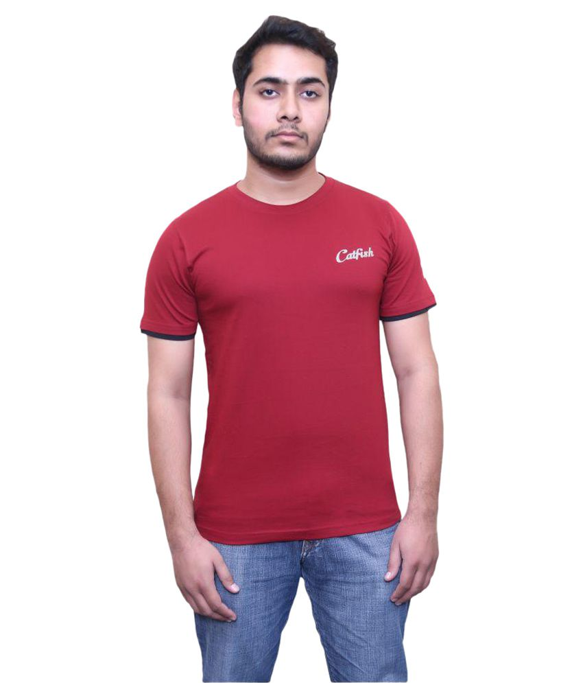 Catfish Maroon Round T-Shirt