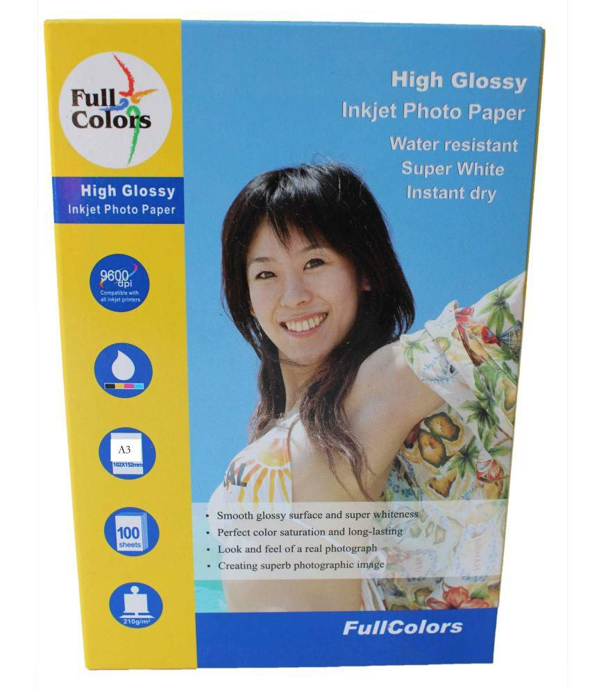 Full Colors High Glossy Inkjet Photo Paper 210 GSM Size A3 Pack of 50 Sheets