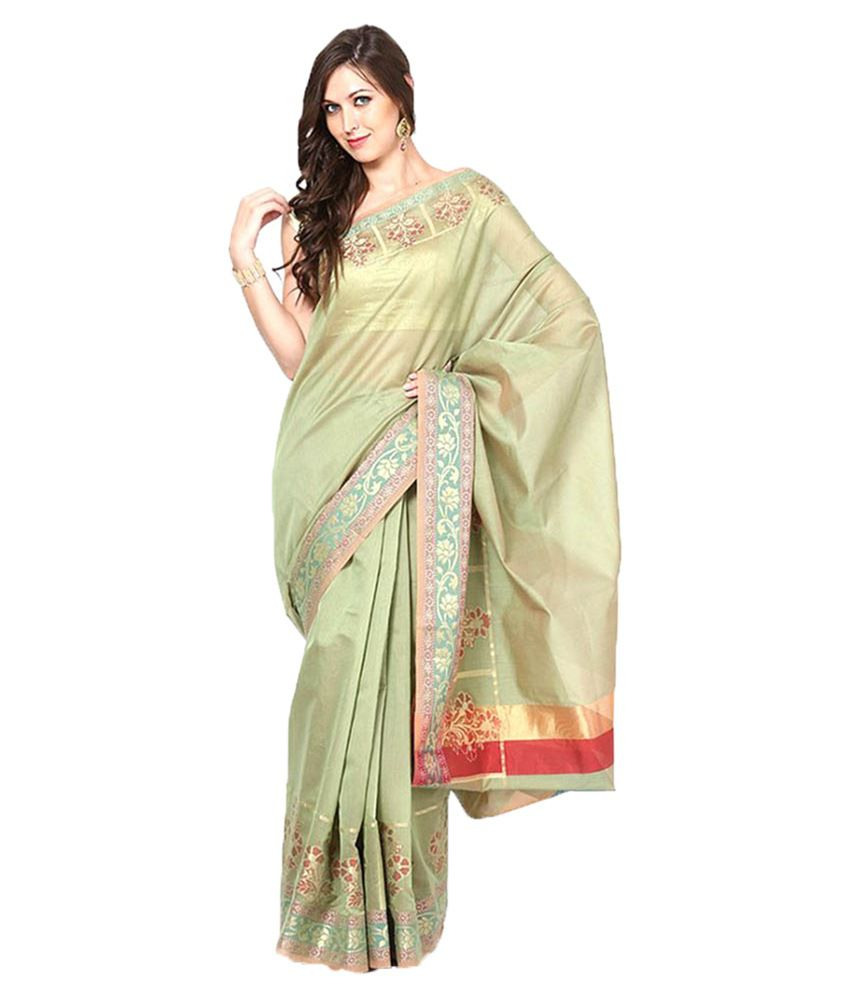 10Der Green Cotton Blend Saree