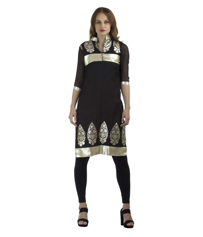 Enchanted Drapes Black Jute Straight Kurti