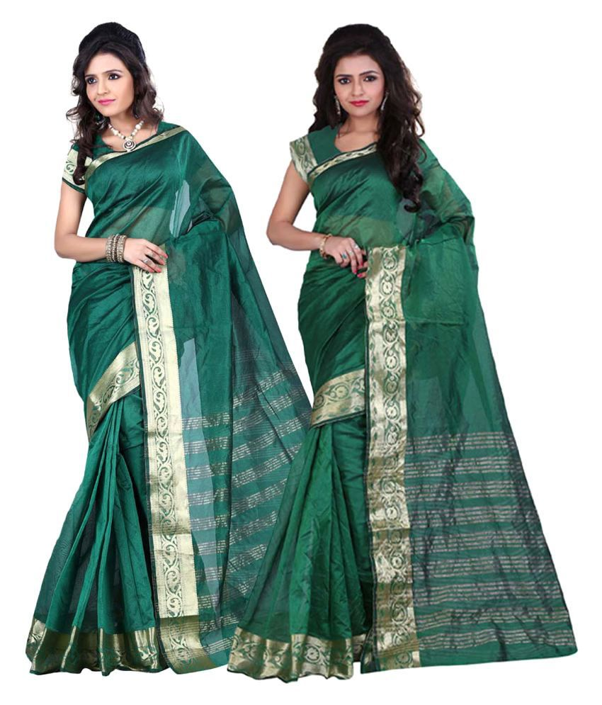 Envogue Green Cotton Saree Combos
