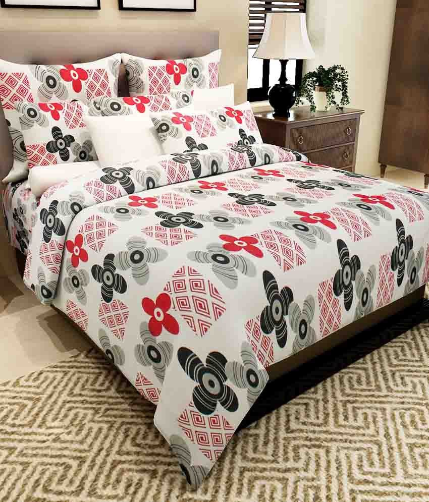 Home Candy White Floral Cotton Double Bedsheet With 2 Pillow Cover
