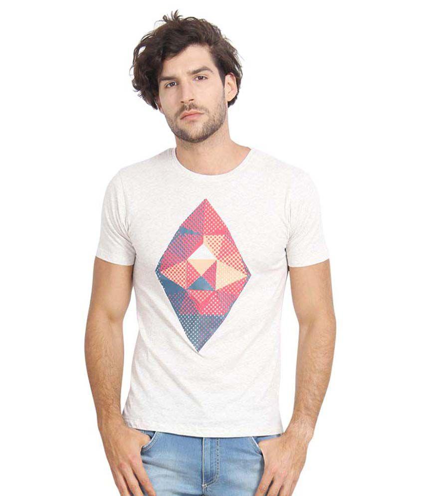 Slub White Round T-Shirt