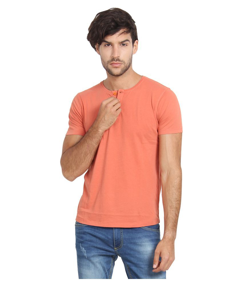 Slub Orange Round T-Shirt