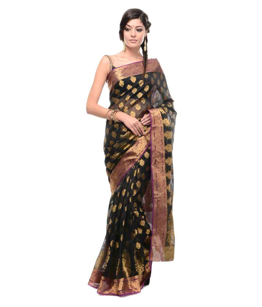 10Der Black Cotton Silk Saree