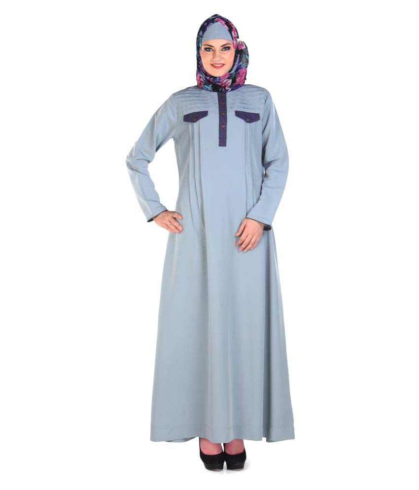 Momin Libas Grey Polyester Stitched Burqas with Hijab