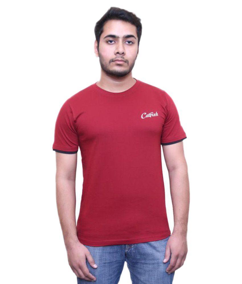 Catfish Maroon Round T-Shirt