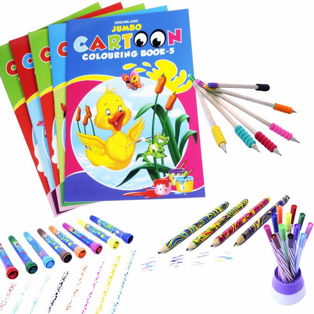 Coi Combo 5 Jumbo Colouring Books Roller Stamp Marker Magic Colour Pencil