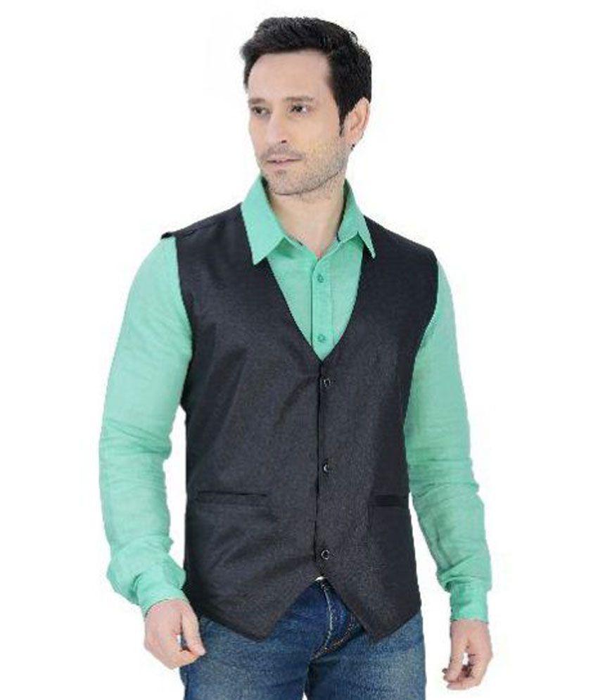 Nu Abc Garments Black Solid Casual Tuxedo