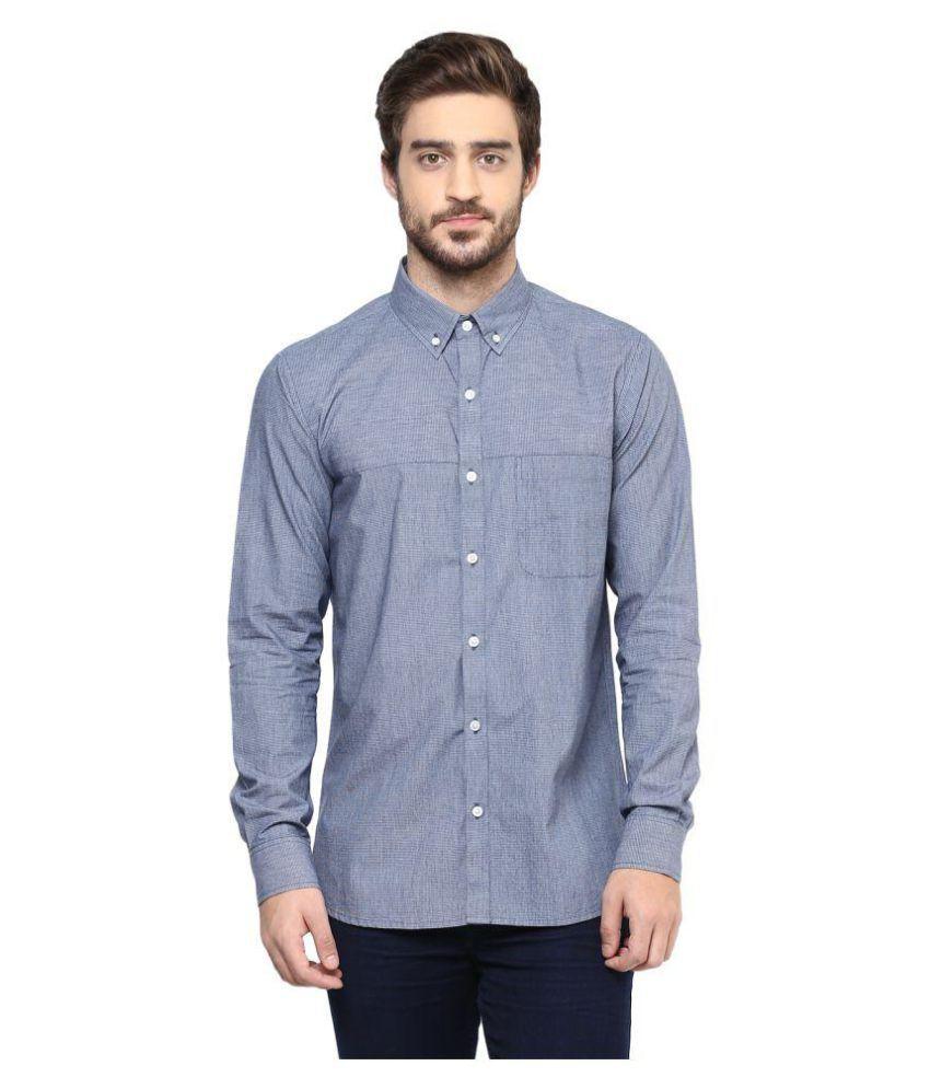 Sprezz Blue Casuals Slim Fit Shirt Denim Chinos