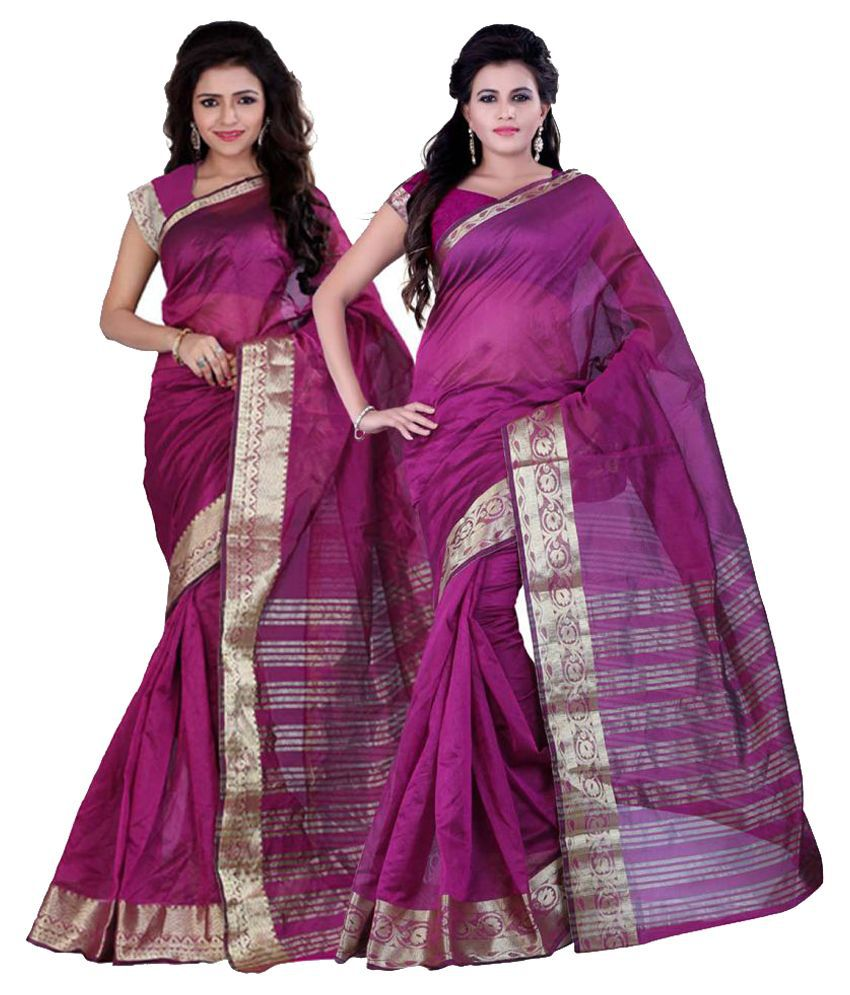 It's Bani Purple Art Silk Saree Combos
