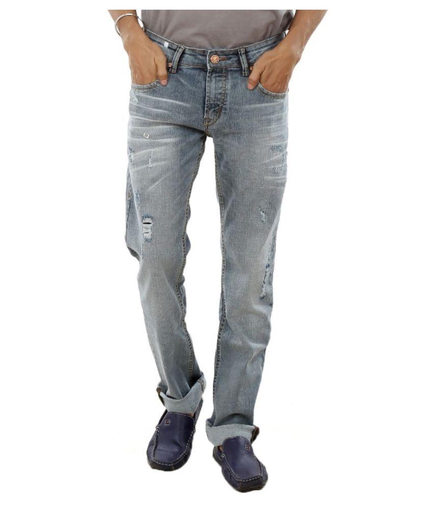Spike Denim Blue Slim Distressed Jeans