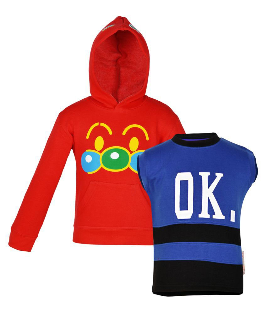 Gkidz Multicolor Fleece Sweatshirt- Pack Of 2