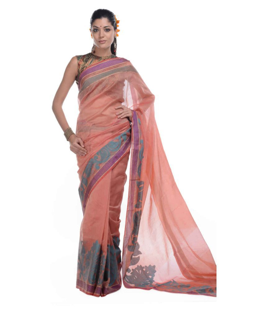 Bunkar Peach Cotton Blend Saree