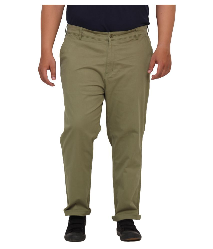 John Pride Green Regular Flat Trouser