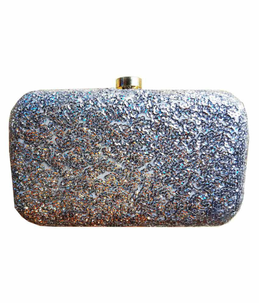 TheIndianHandicraftStore Silver Metal Box Clutch