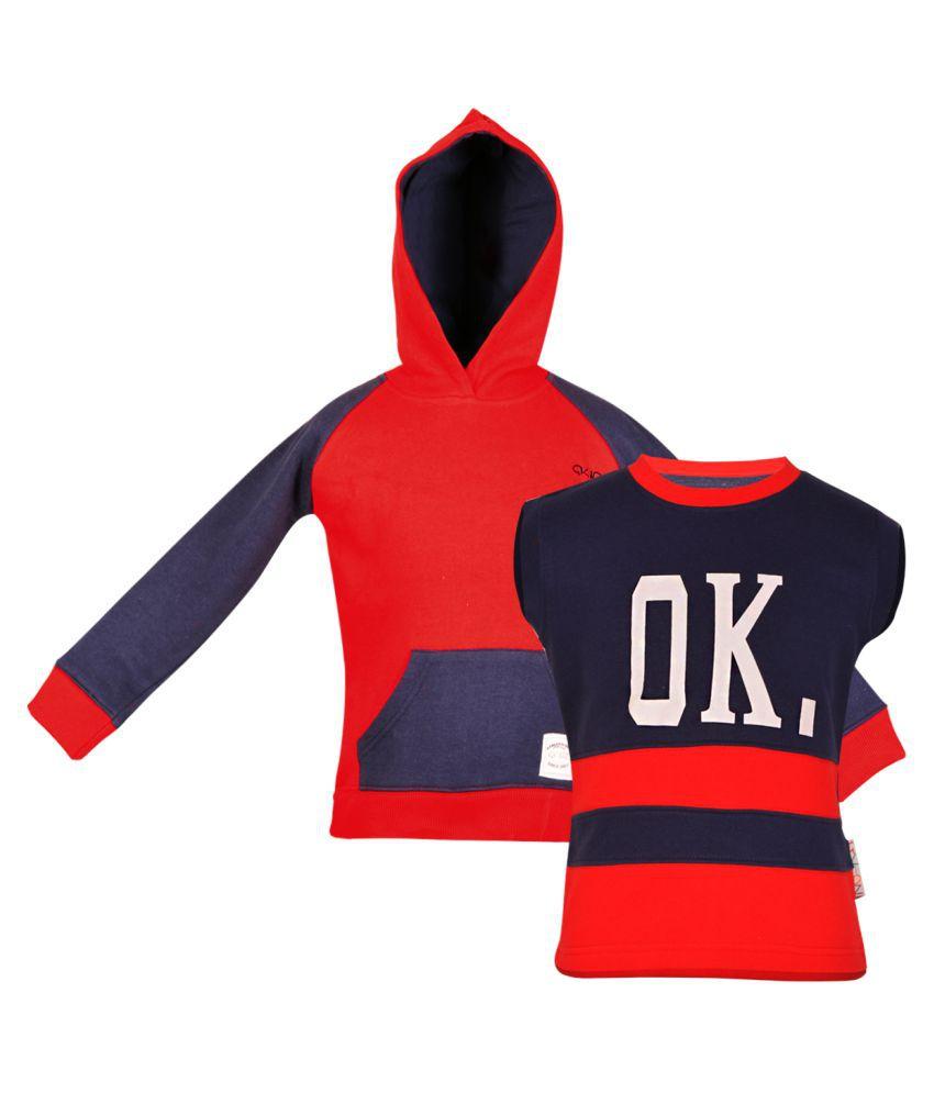 GKIDZ Pack Of 2 Girls Multicolor Fleece Sweatshirt Combo.