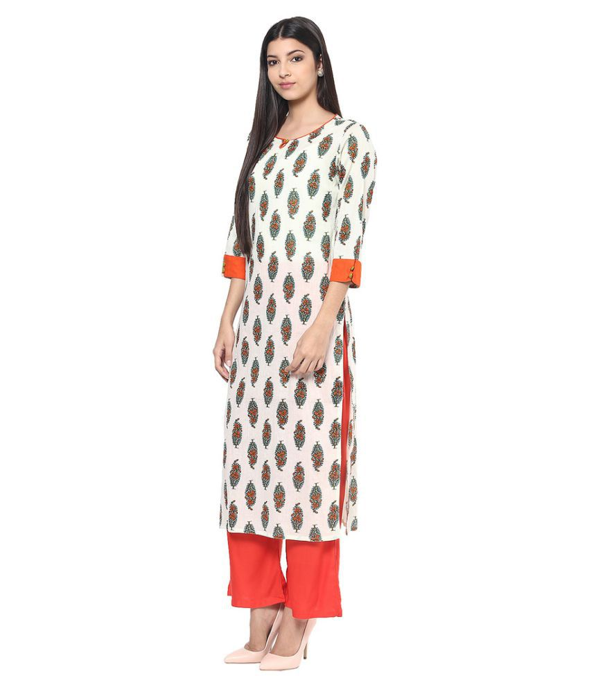 Jaipur Kurti Off White cotton Straight Stitched Suit