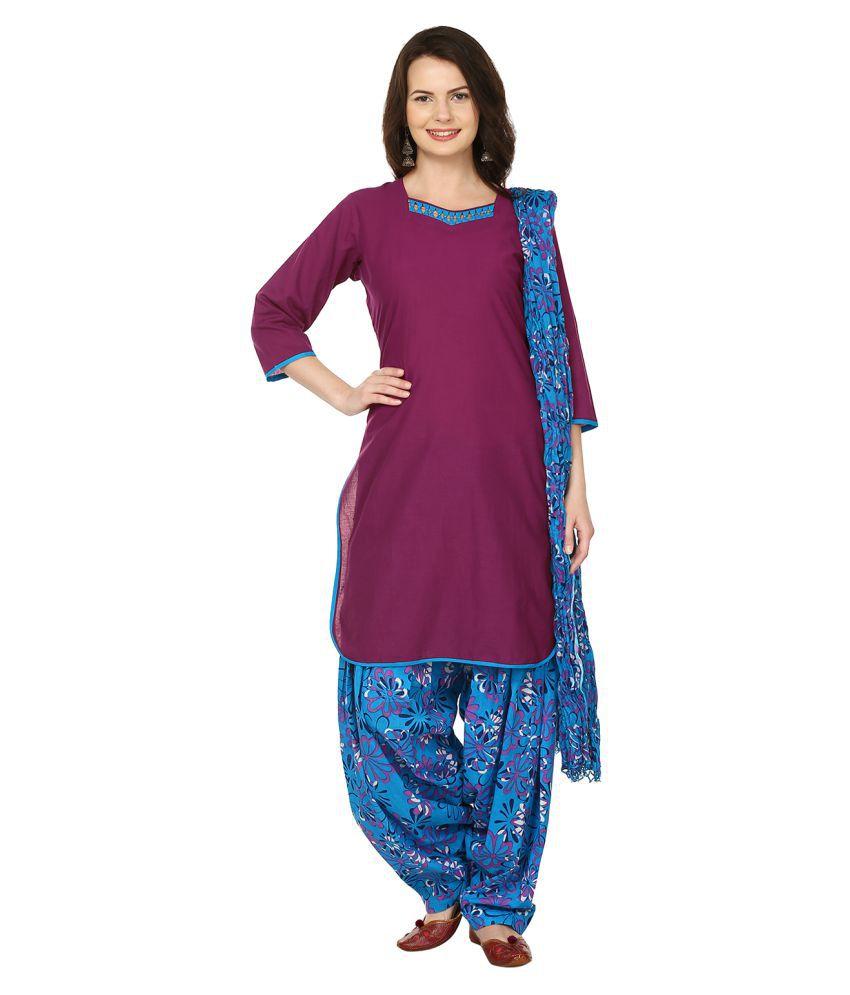 Lamizor Purple Cotton Straight Stitched Suit