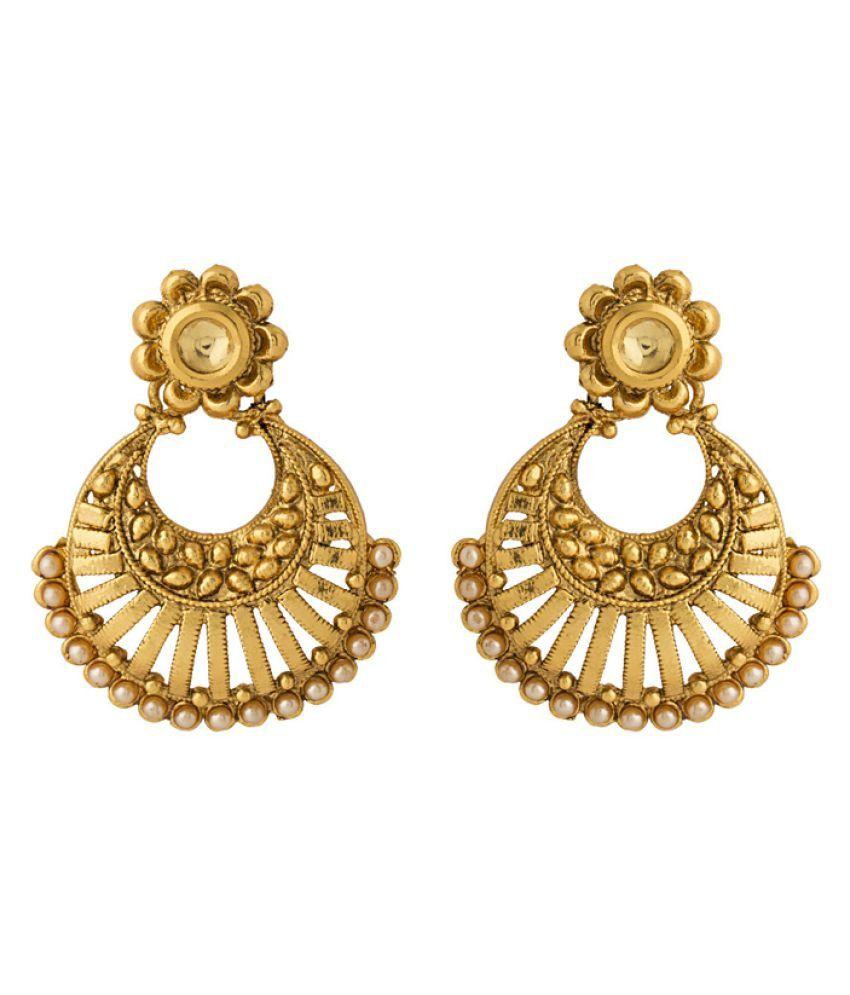 Voylla Kundan Studded Designer Gold Plated Earrings
