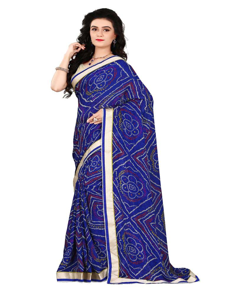 Luga Blue Georgette Saree