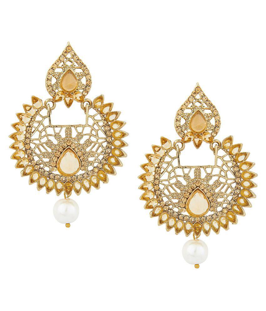 Shining Jewel Gold Plated Chandeliers Earrings