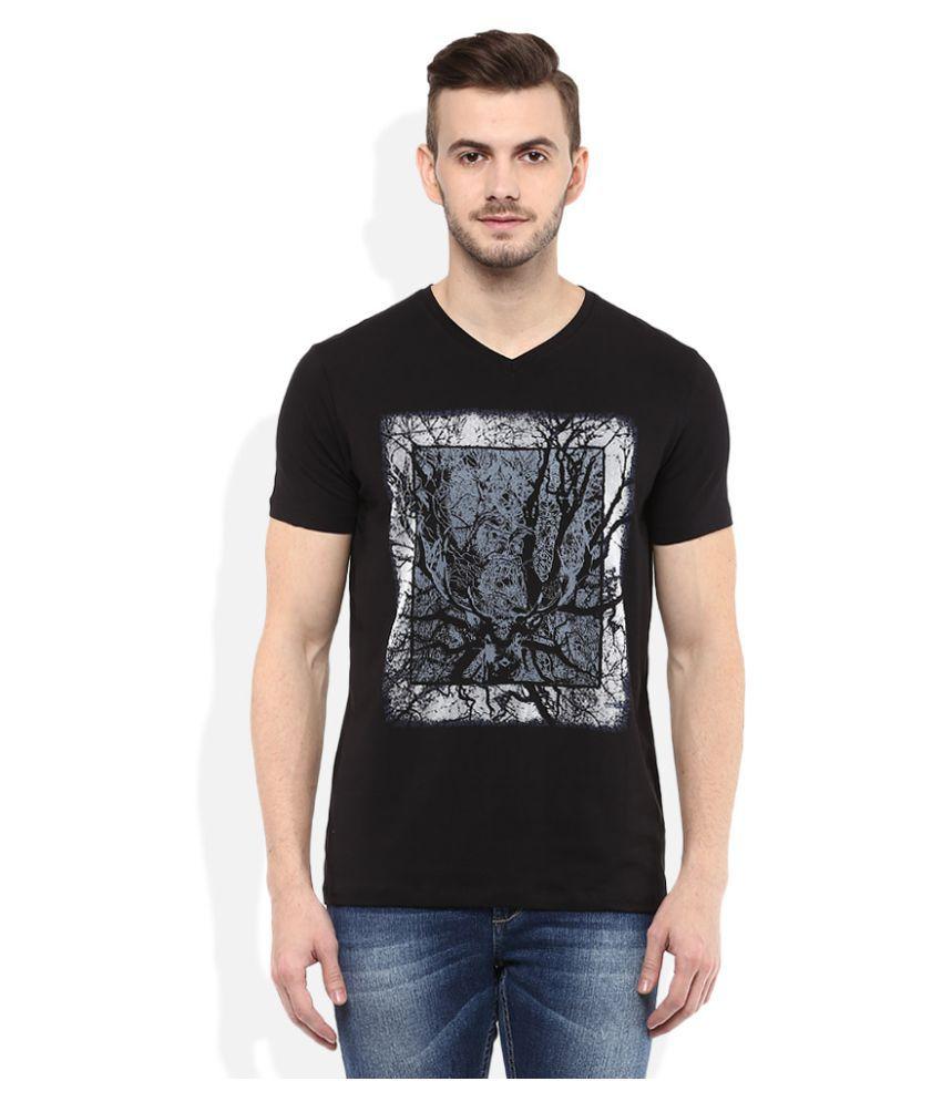 Spykar Black V-Neck T-Shirt