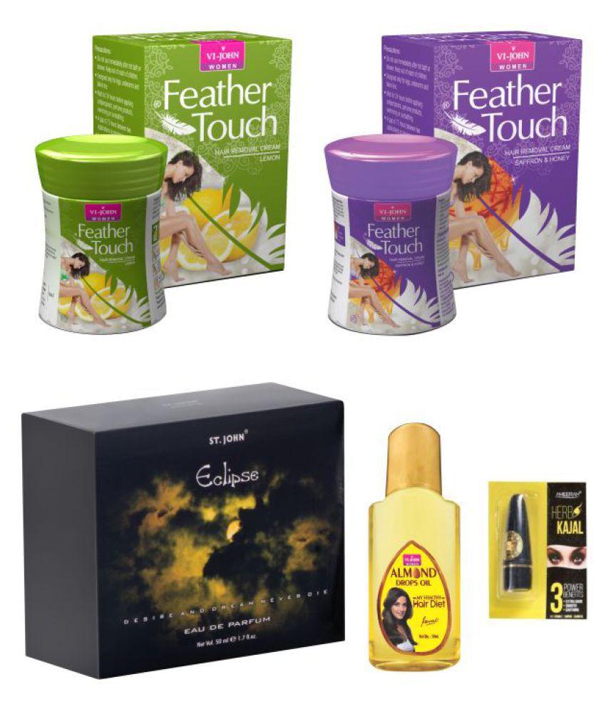 Feather Touch Hair Removal Cream (Lime & Honey Saffron) 40GM& Perfume Eclips 50ML & Almond Hair Oil 50ml & Kajal