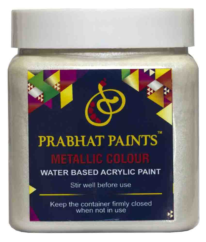 Prabhat Paints Acrylic Metallic / Pearl Colours (500 gm, Silver) (Water based paint)