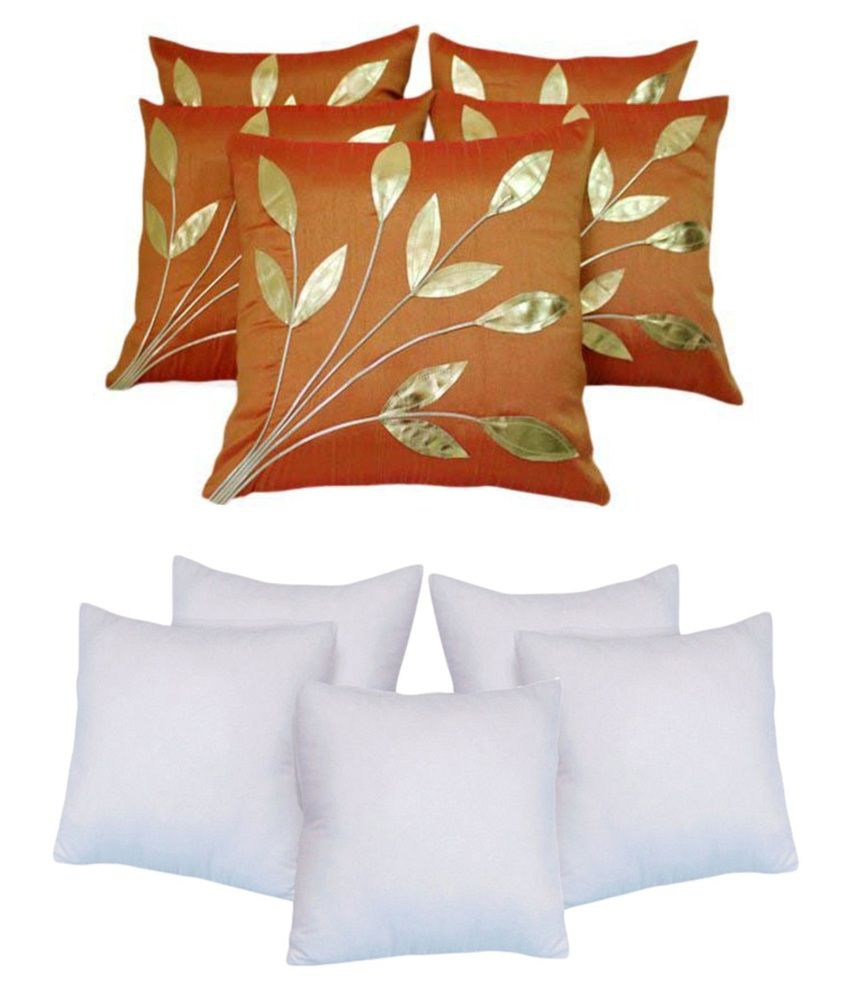 Ally Leaves Patch Rust Cushion Cover With Filler Pack of 10