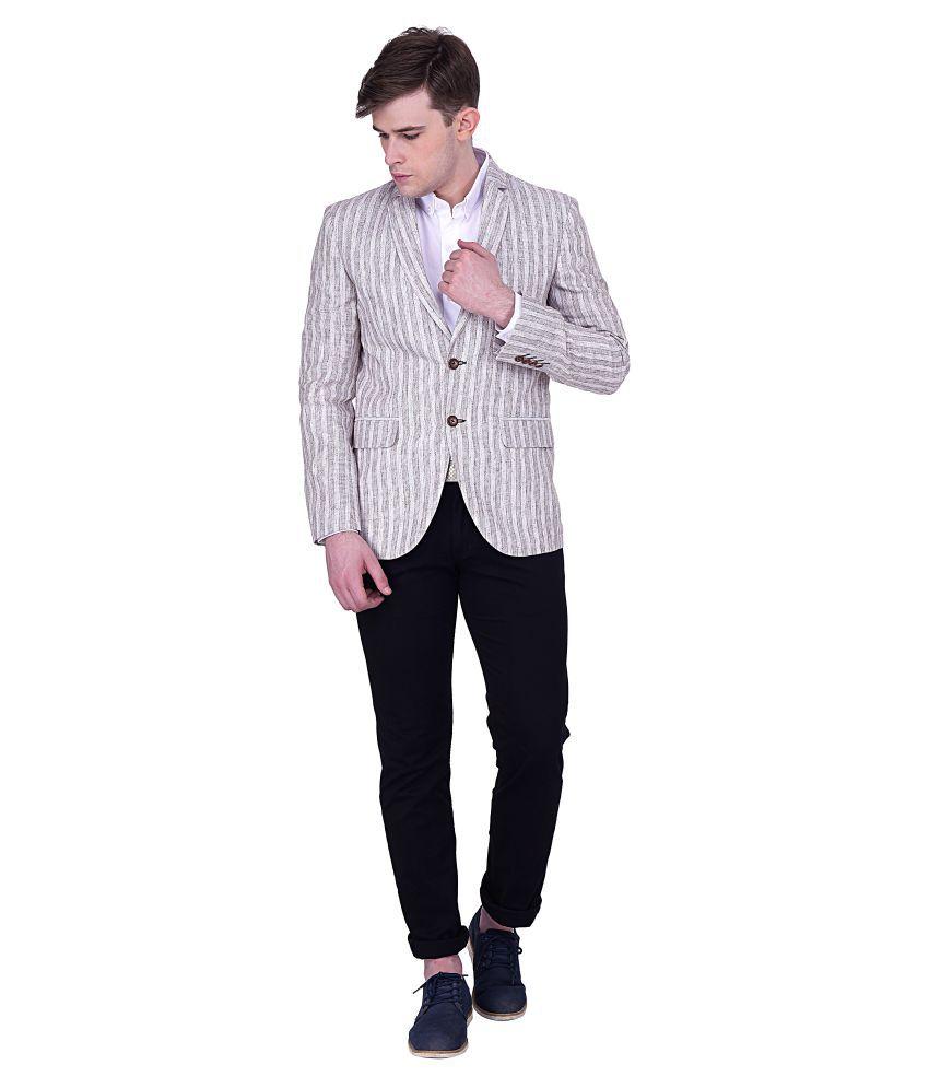 Quontico Beige Striped Casual Blazers