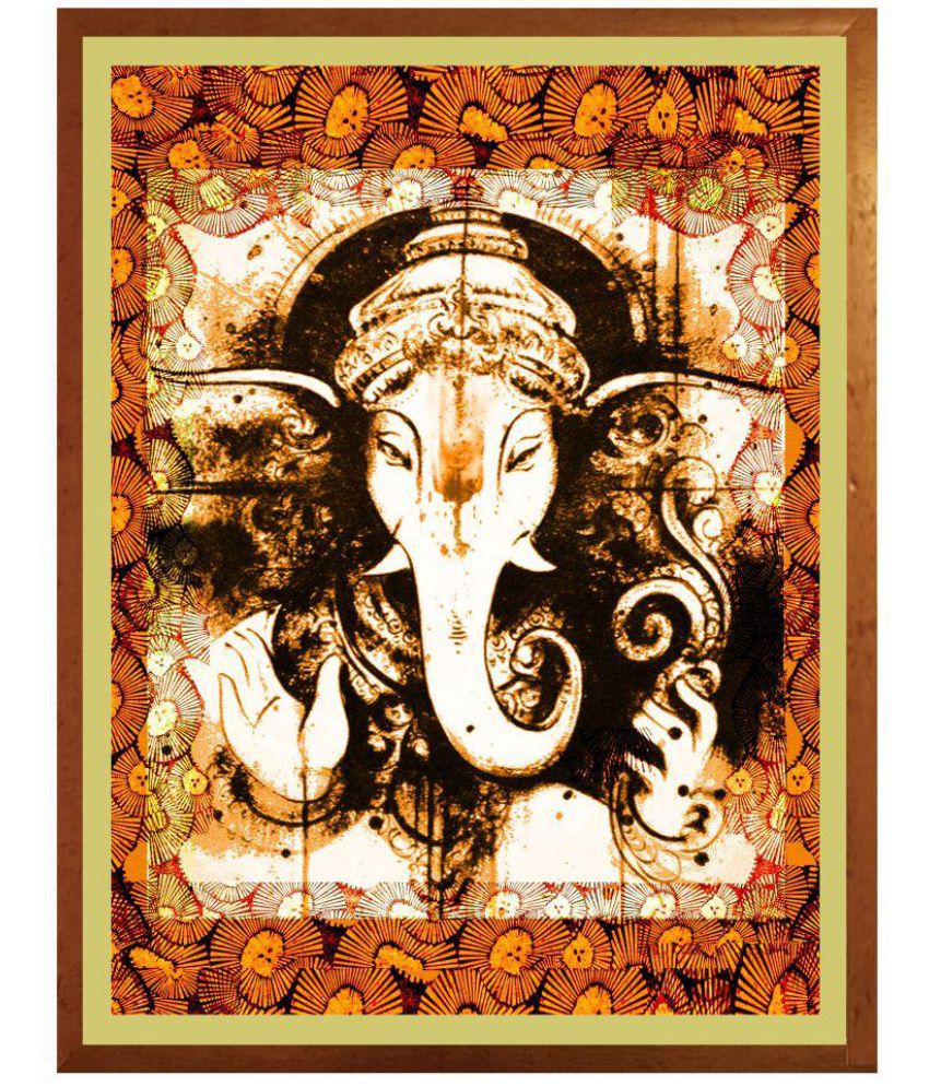 Antaram Designs Ganesh Wall Art Canvas Painting With Frame Single Piece